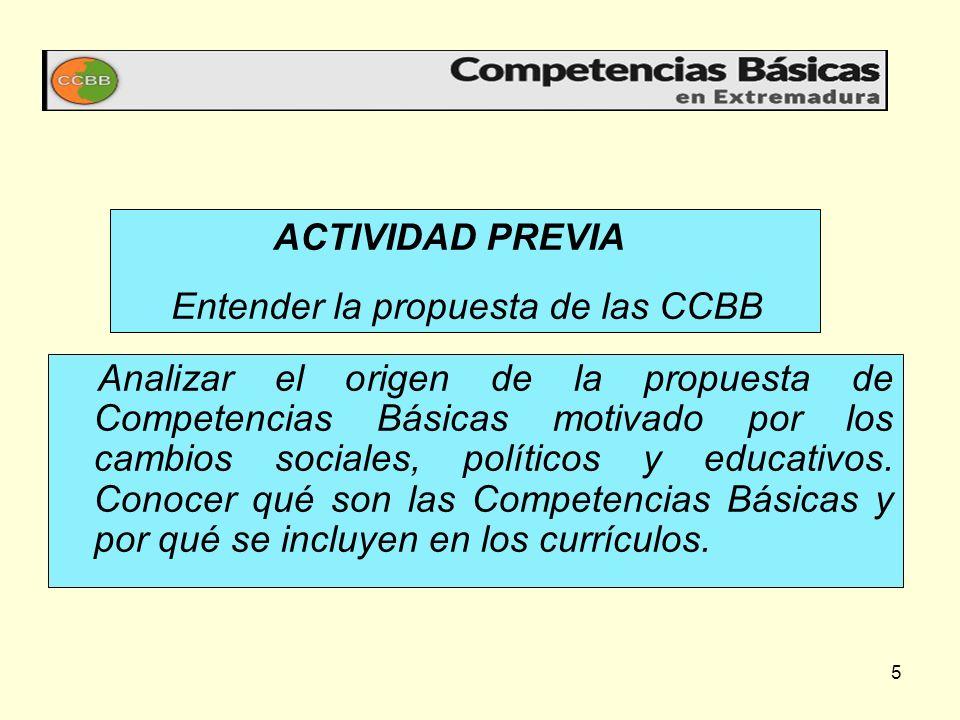 ACTIVIDAD PREVIA Entender la propuesta de las CCBB.