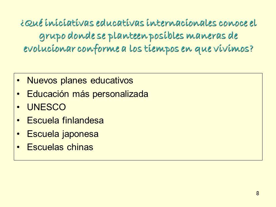 ¿Qué iniciativas educativas internacionales conoce el grupo donde se planteen posibles maneras de evolucionar conforme a los tiempos en que vivimos