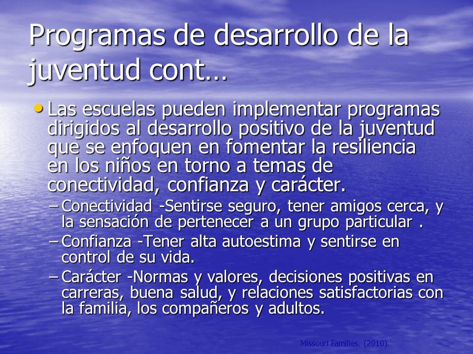 Programas de desarrollo de la juventud cont…