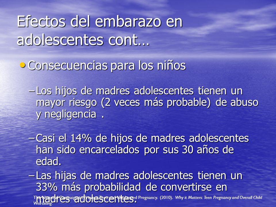 Efectos del embarazo en adolescentes cont…