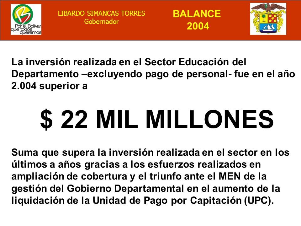 La inversión realizada en el Sector Educación del Departamento –excluyendo pago de personal- fue en el año 2.004 superior a