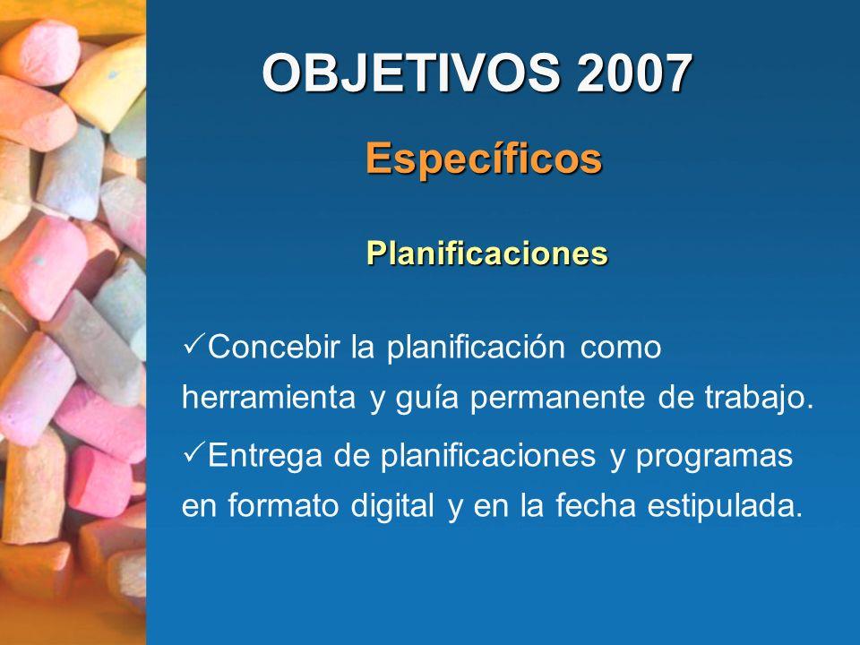 OBJETIVOS 2007 Específicos Planificaciones