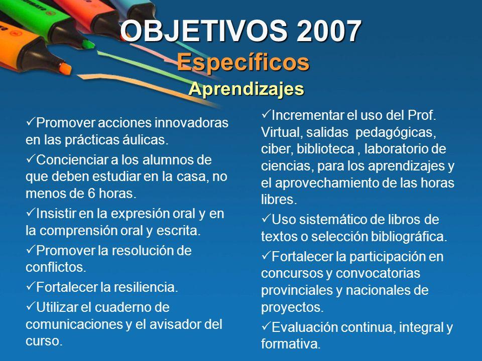 OBJETIVOS 2007 Específicos Aprendizajes