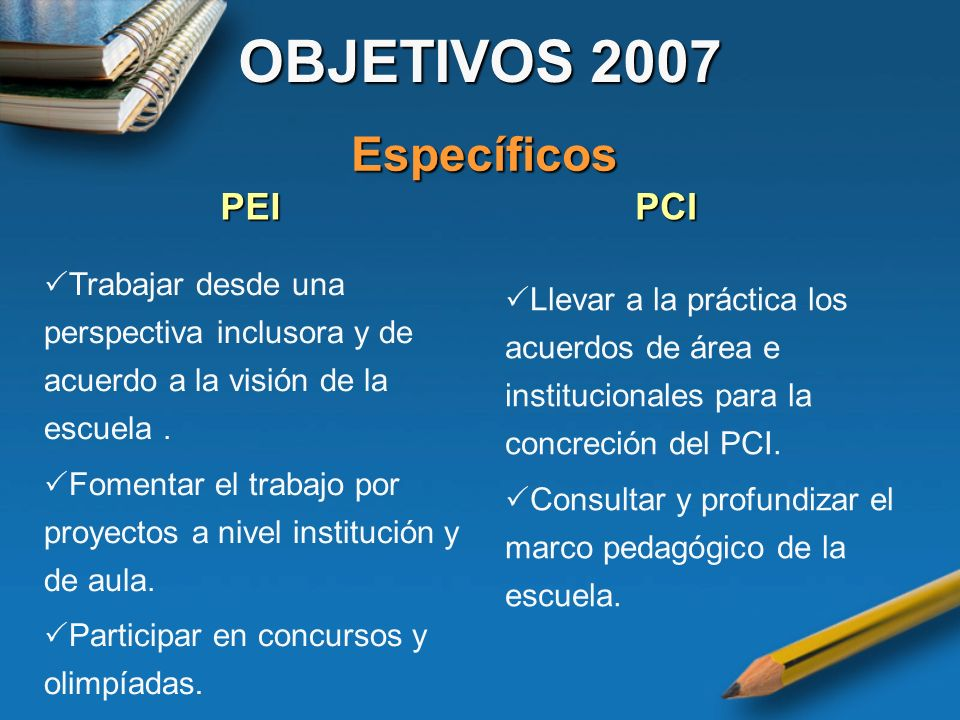 OBJETIVOS 2007 Específicos PEI PCI