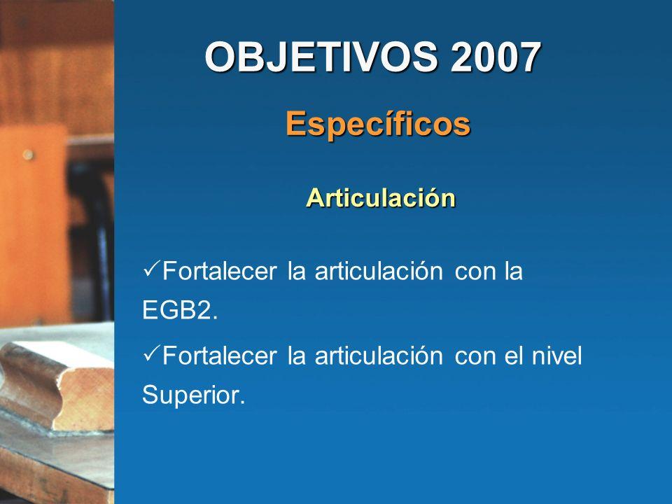 OBJETIVOS 2007 Específicos Articulación