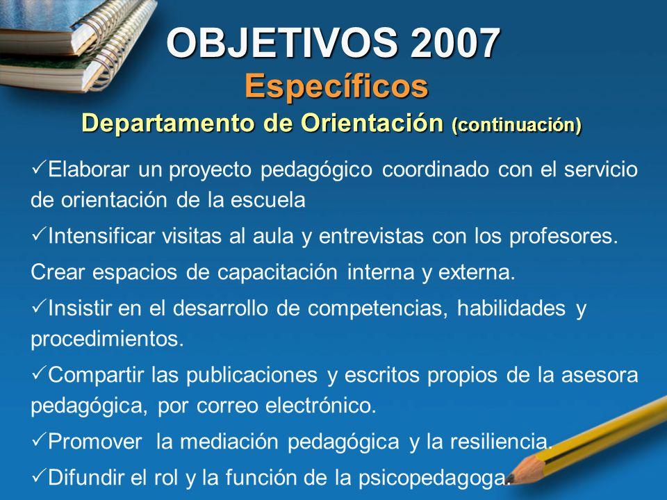 Departamento de Orientación (continuación)