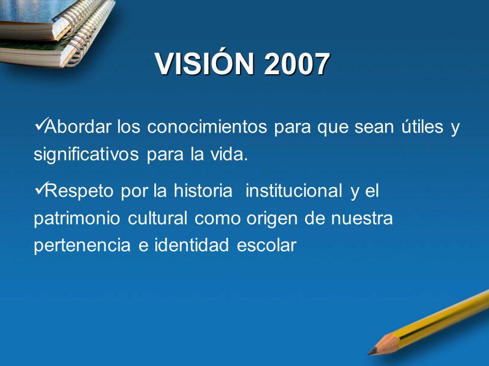 VISIÓN 2007 Abordar los conocimientos para que sean útiles y significativos para la vida.