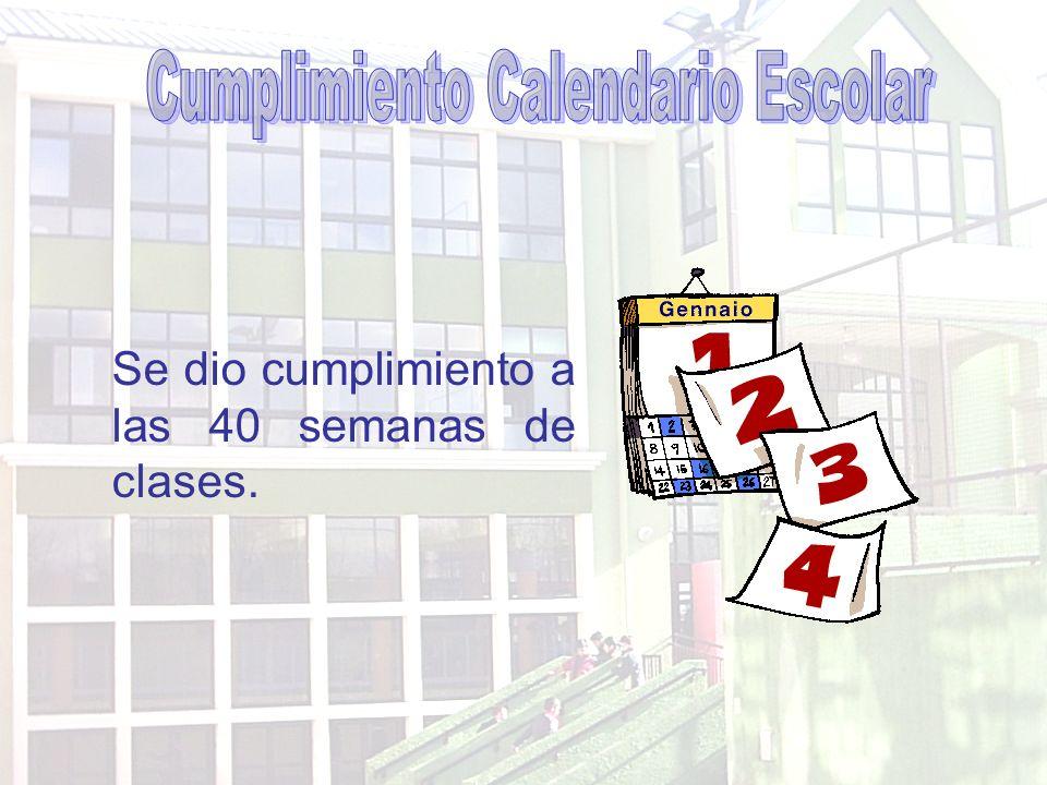 Cumplimiento Calendario Escolar
