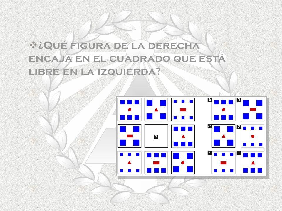 ¿Qué figura de la derecha encaja en el cuadrado que está libre en la izquierda