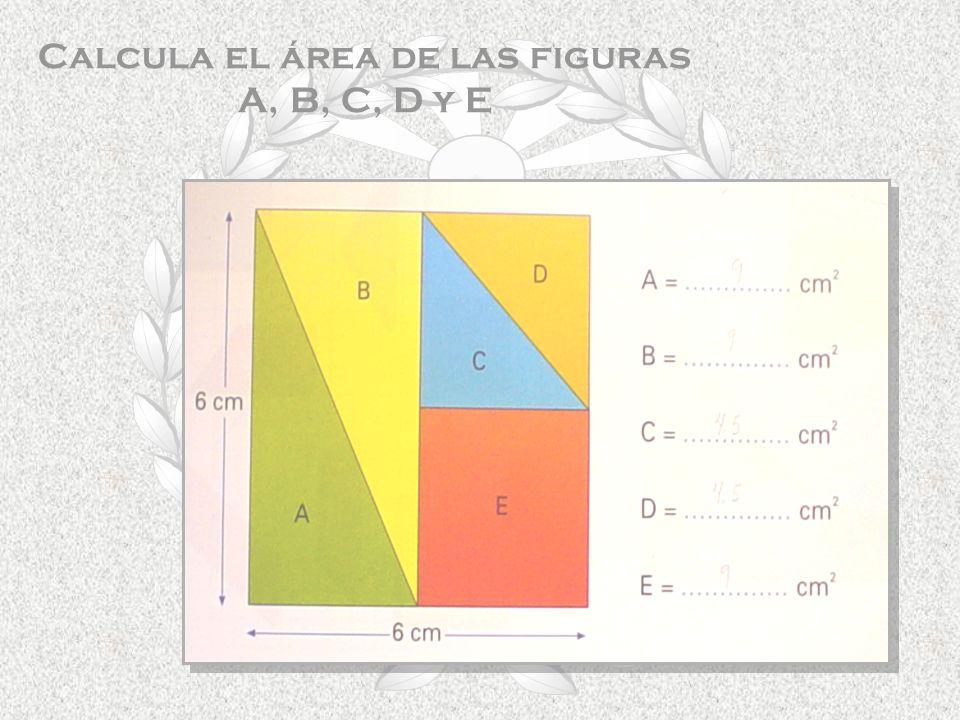 Calcula el área de las figuras A, B, C, D y E