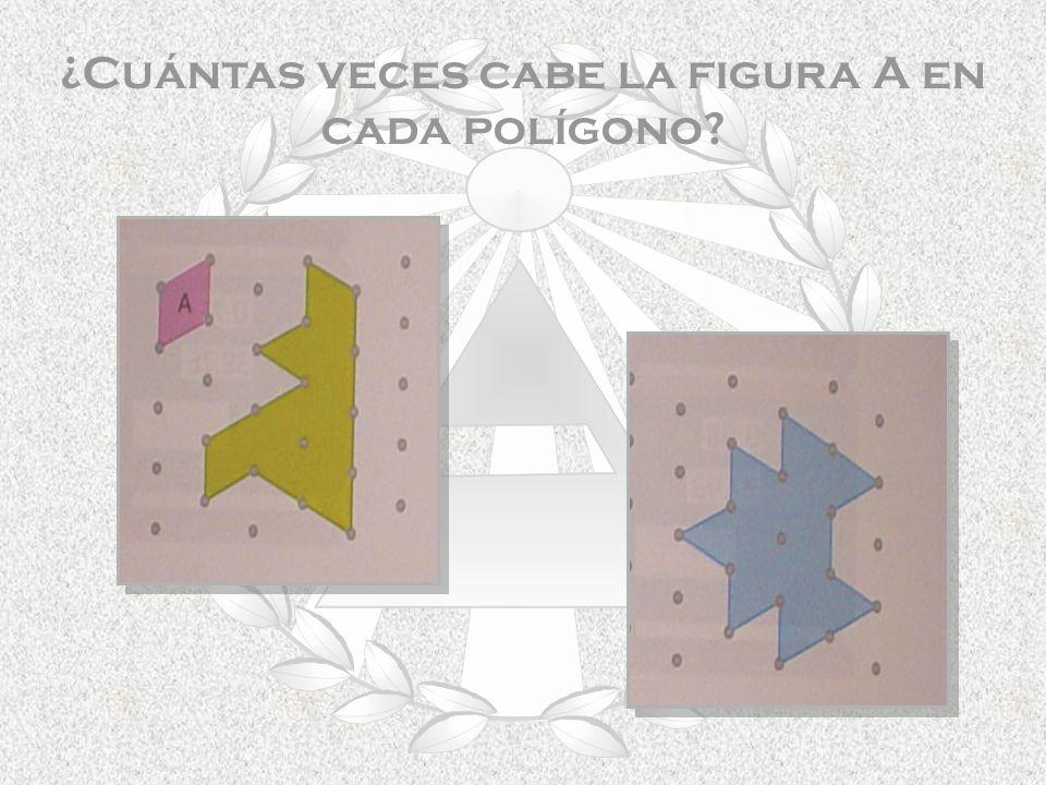 ¿Cuántas veces cabe la figura A en cada polígono