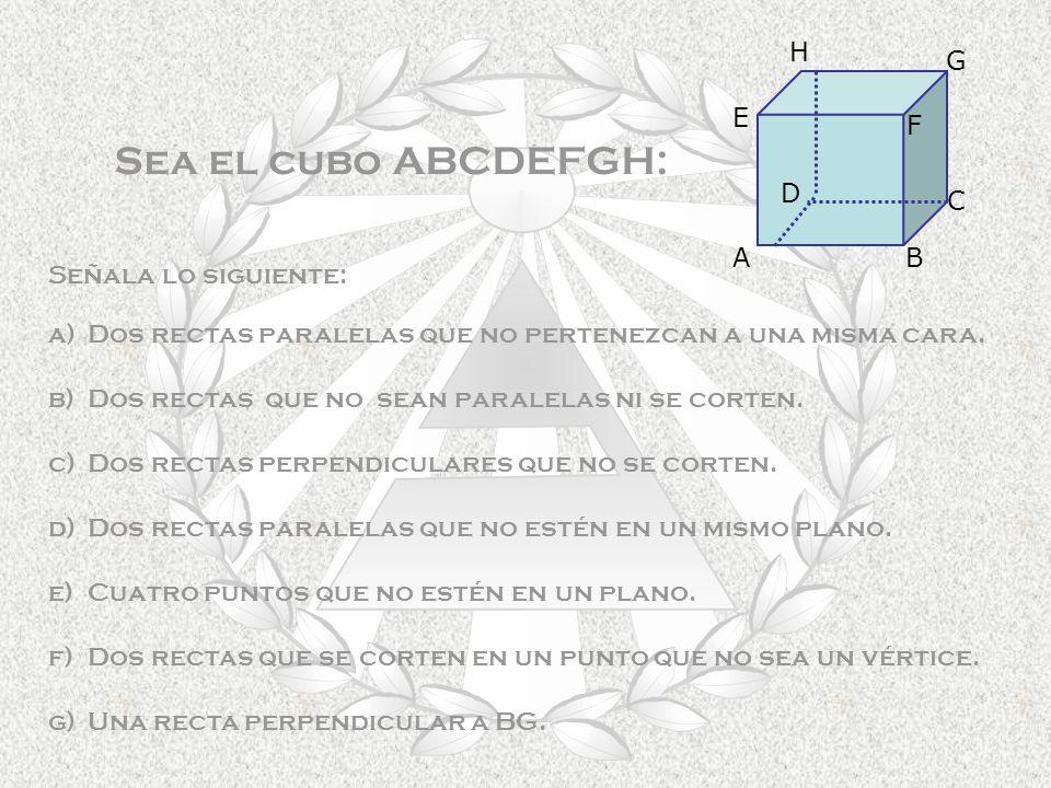 Sea el cubo ABCDEFGH: H G E F D C A B Señala lo siguiente: