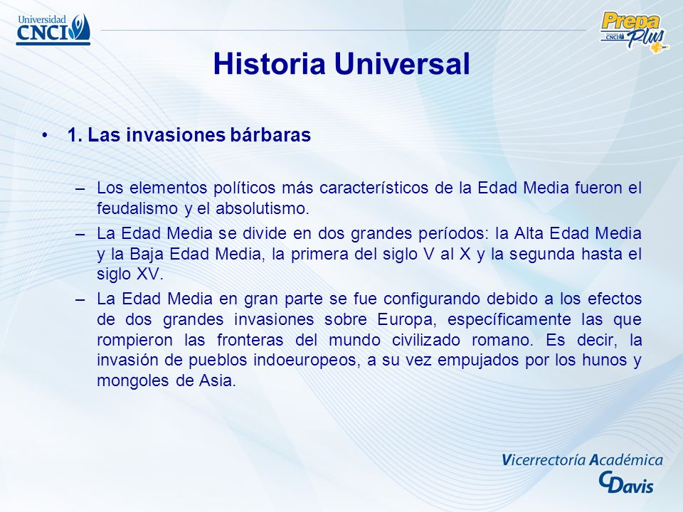 Historia Universal 1. Las invasiones bárbaras