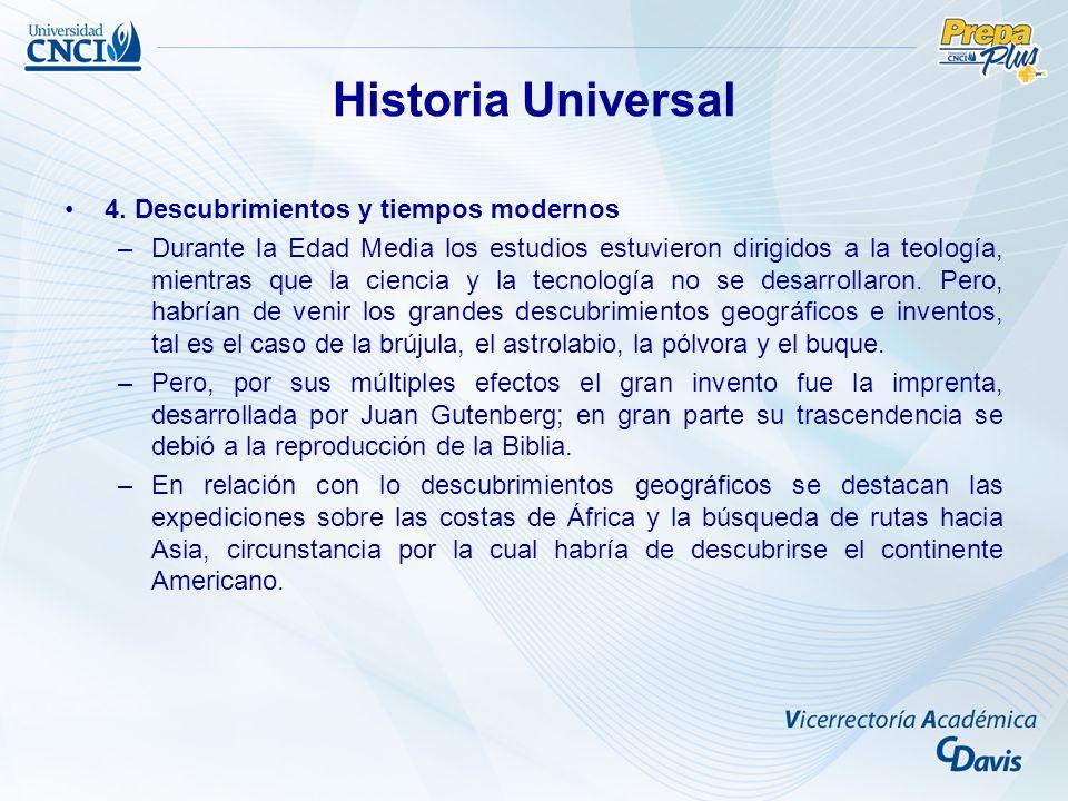 Historia Universal 4. Descubrimientos y tiempos modernos