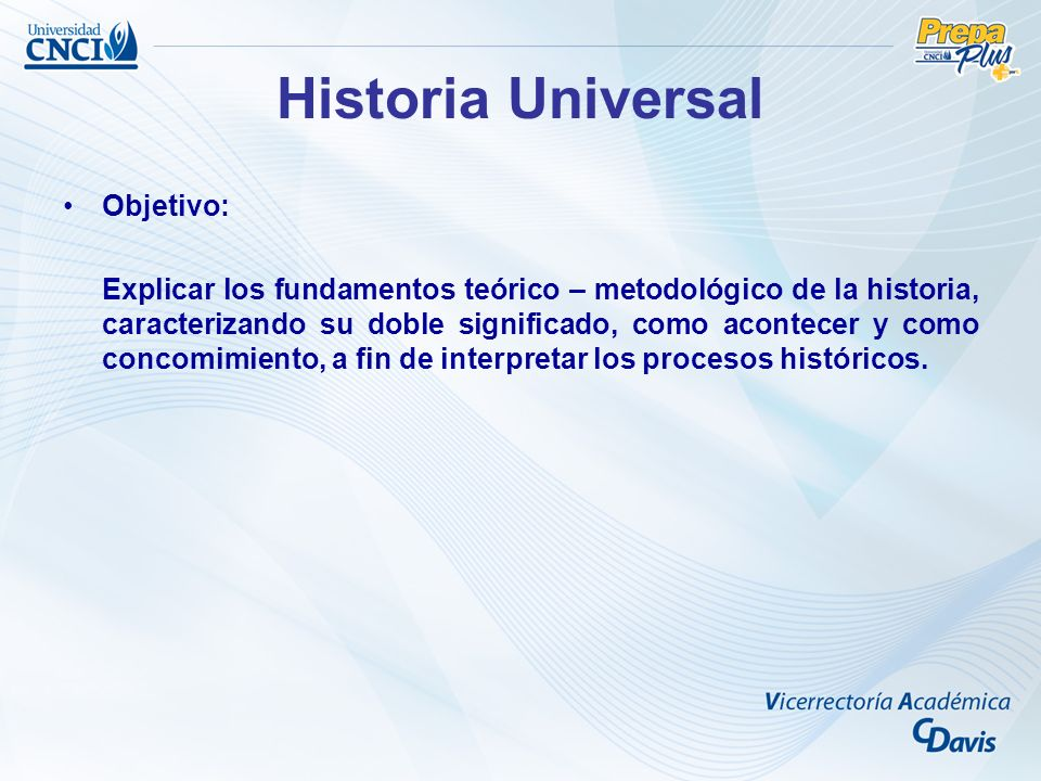 Historia Universal Objetivo: