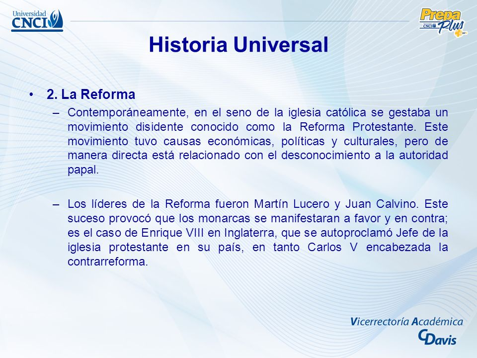Historia Universal 2. La Reforma