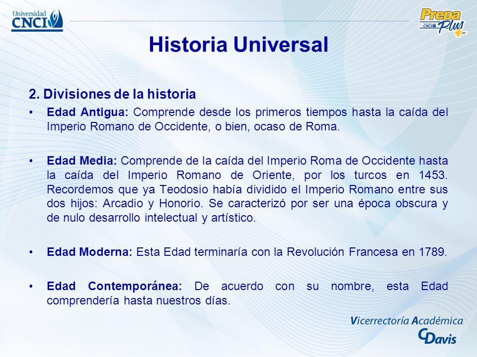 Historia Universal 2. Divisiones de la historia
