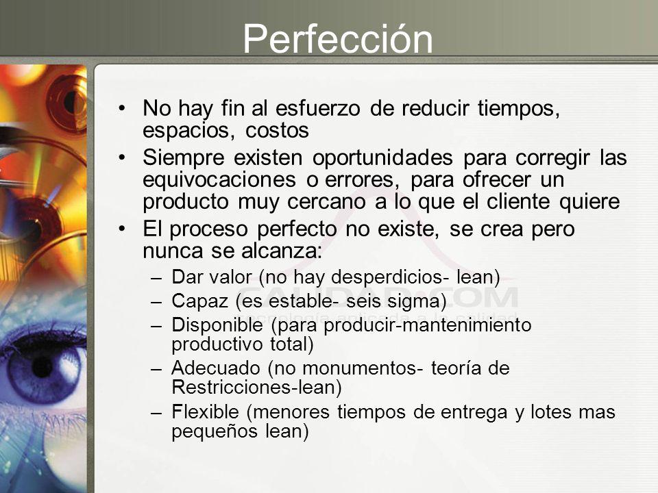 Perfección No hay fin al esfuerzo de reducir tiempos, espacios, costos