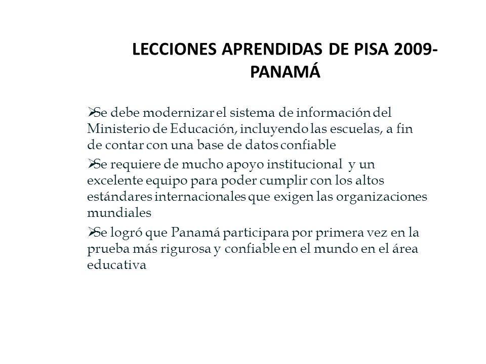 LECCIONES APRENDIDAS DE PISA 2009- PANAMÁ