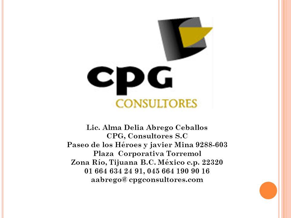 Lic. Alma Delia Abrego Ceballos CPG, Consultores S.C