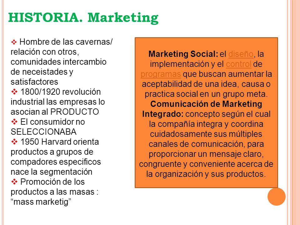 HISTORIA. Marketing Hombre de las cavernas/ relación con otros, comunidades intercambio. de neceistades y satisfactores.