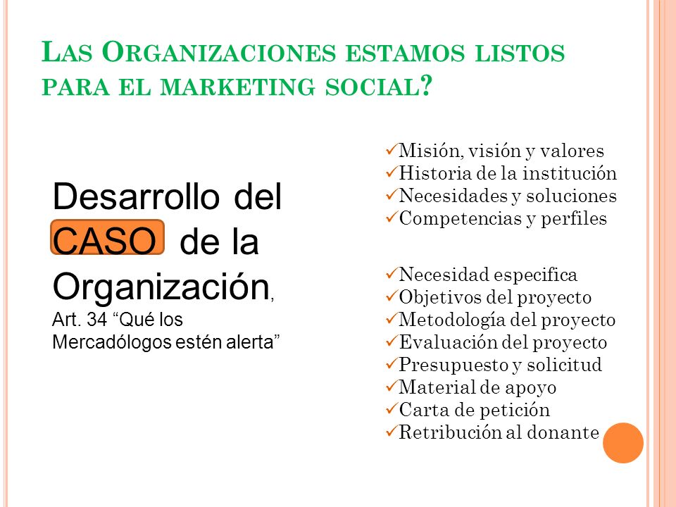 Las Organizaciones estamos listos para el marketing social