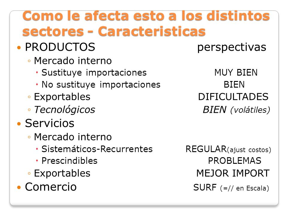 Como le afecta esto a los distintos sectores - Caracteristicas