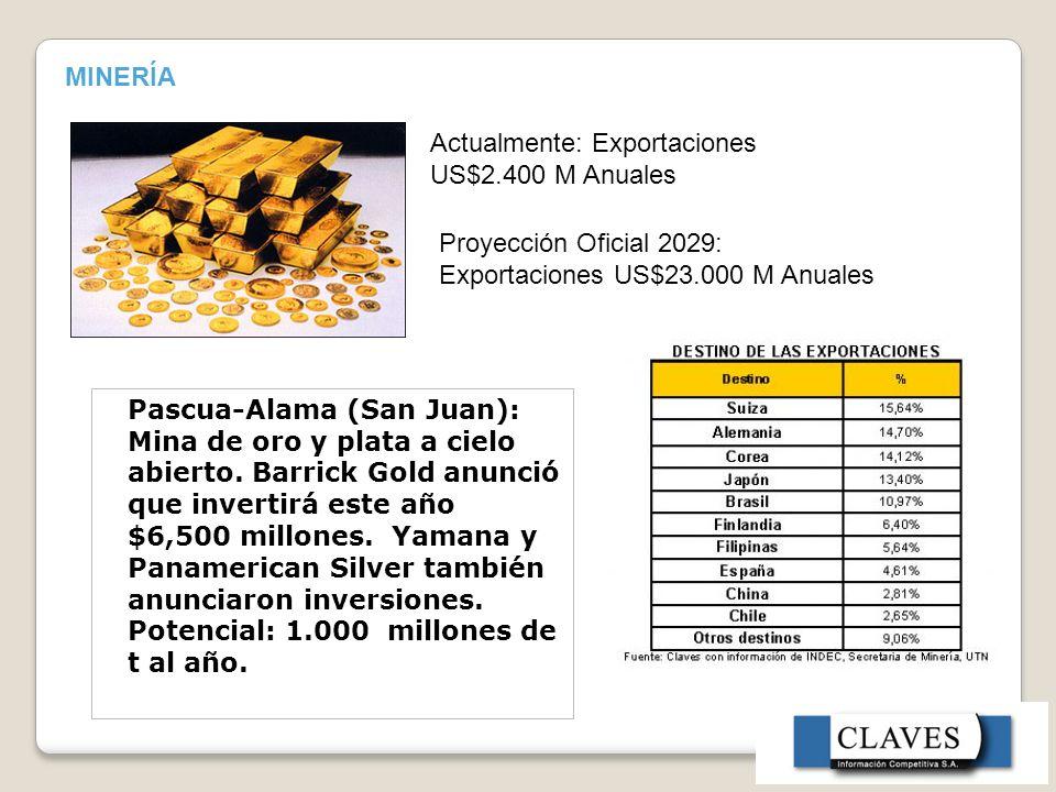 MINERÍA Actualmente: Exportaciones US$2.400 M Anuales. Proyección Oficial 2029: Exportaciones US$23.000 M Anuales.