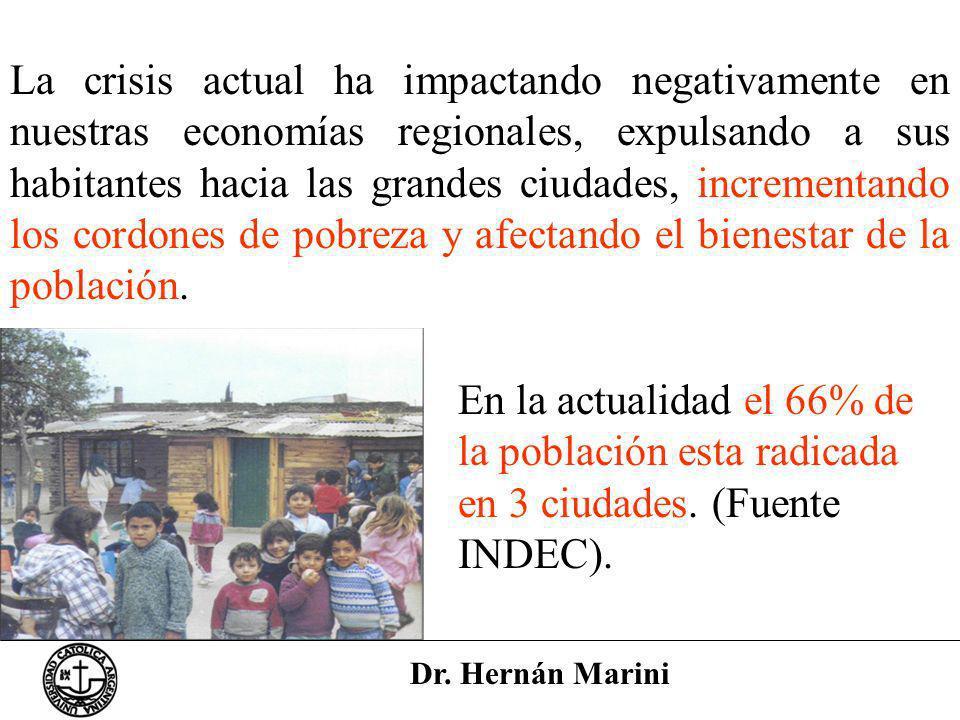 La crisis actual ha impactando negativamente en nuestras economías regionales, expulsando a sus habitantes hacia las grandes ciudades, incrementando los cordones de pobreza y afectando el bienestar de la población.