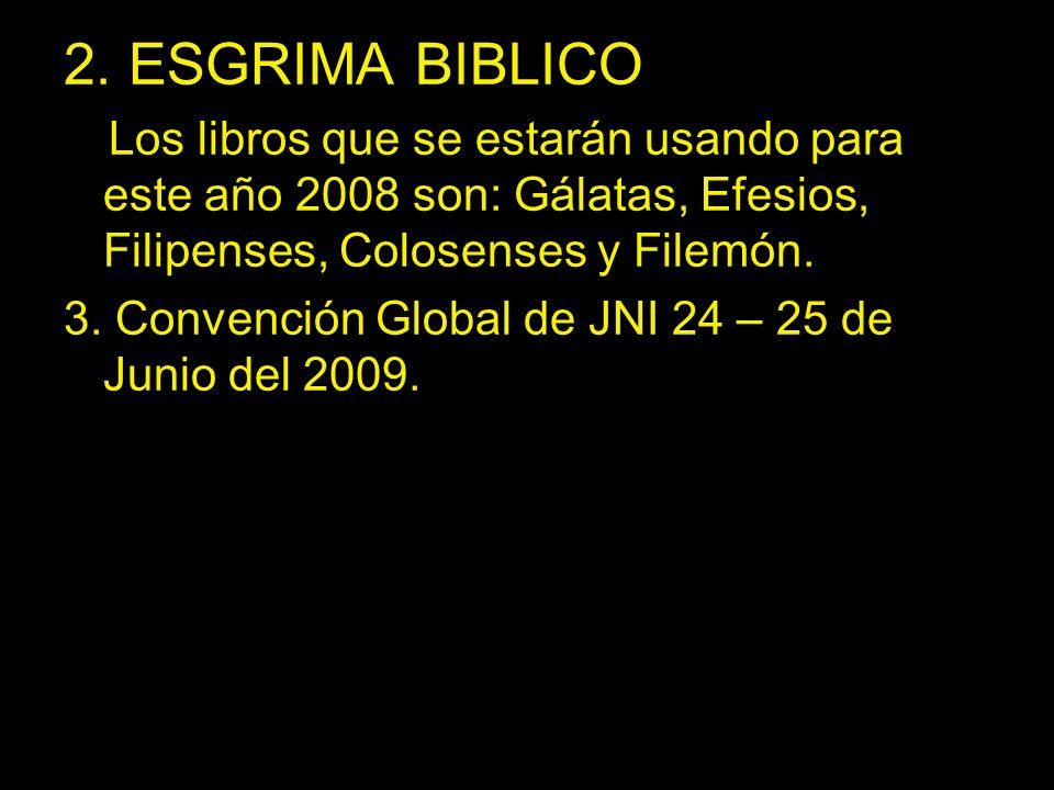 2. ESGRIMA BIBLICO Los libros que se estarán usando para este año 2008 son: Gálatas, Efesios, Filipenses, Colosenses y Filemón.