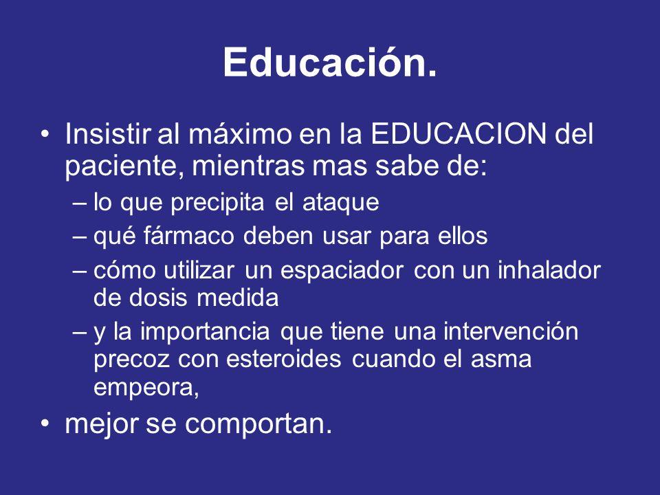 Educación. Insistir al máximo en la EDUCACION del paciente, mientras mas sabe de: lo que precipita el ataque.