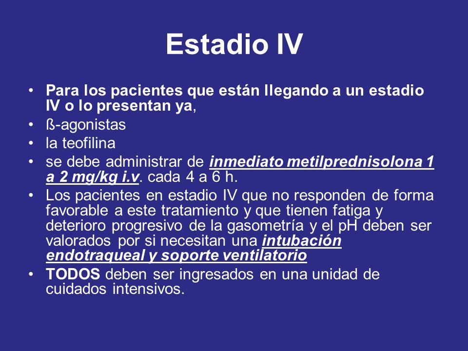 Estadio IV Para los pacientes que están llegando a un estadio IV o lo presentan ya, ß-agonistas. la teofilina.