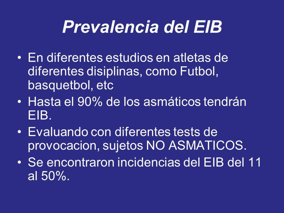 Prevalencia del EIB En diferentes estudios en atletas de diferentes disiplinas, como Futbol, basquetbol, etc.
