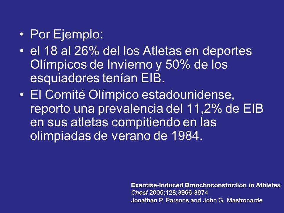 Por Ejemplo: el 18 al 26% del los Atletas en deportes Olímpicos de Invierno y 50% de los esquiadores tenían EIB.