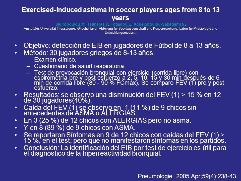 Objetivo: detección de EIB en jugadores de Fútbol de 8 a 13 años.
