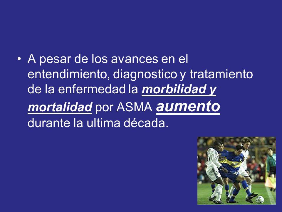 A pesar de los avances en el entendimiento, diagnostico y tratamiento de la enfermedad la morbilidad y mortalidad por ASMA aumento durante la ultima década.