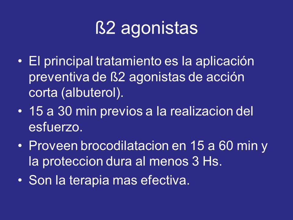ß2 agonistas El principal tratamiento es la aplicación preventiva de ß2 agonistas de acción corta (albuterol).