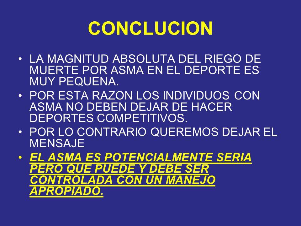 CONCLUCION LA MAGNITUD ABSOLUTA DEL RIEGO DE MUERTE POR ASMA EN EL DEPORTE ES MUY PEQUENA.