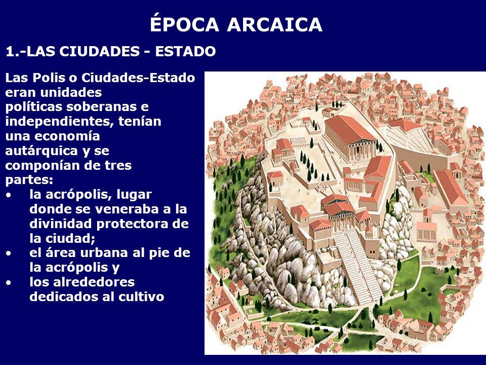 ÉPOCA ARCAICA 1.-LAS CIUDADES - ESTADO Las Polis o Ciudades-Estado