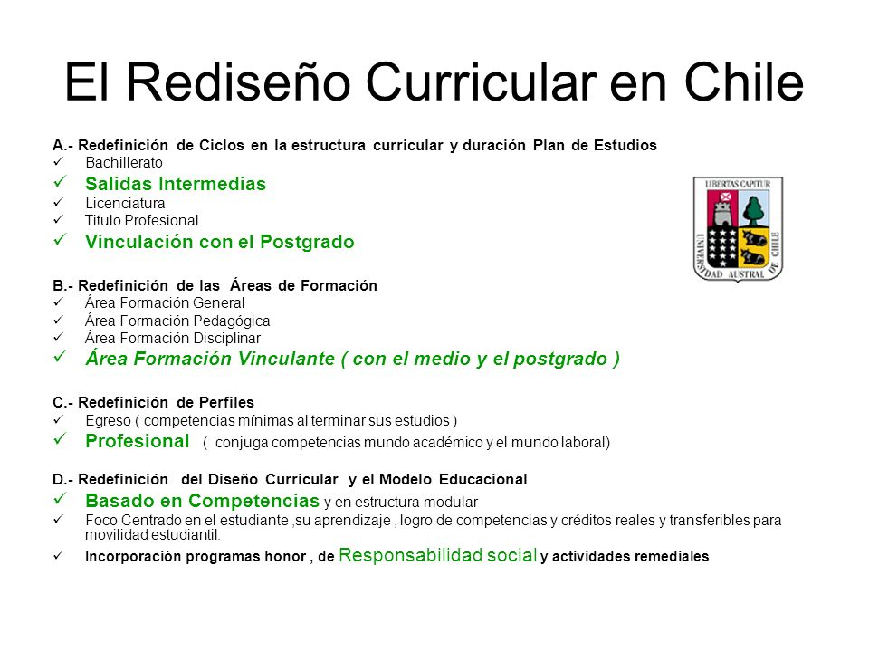 El Rediseño Curricular en Chile