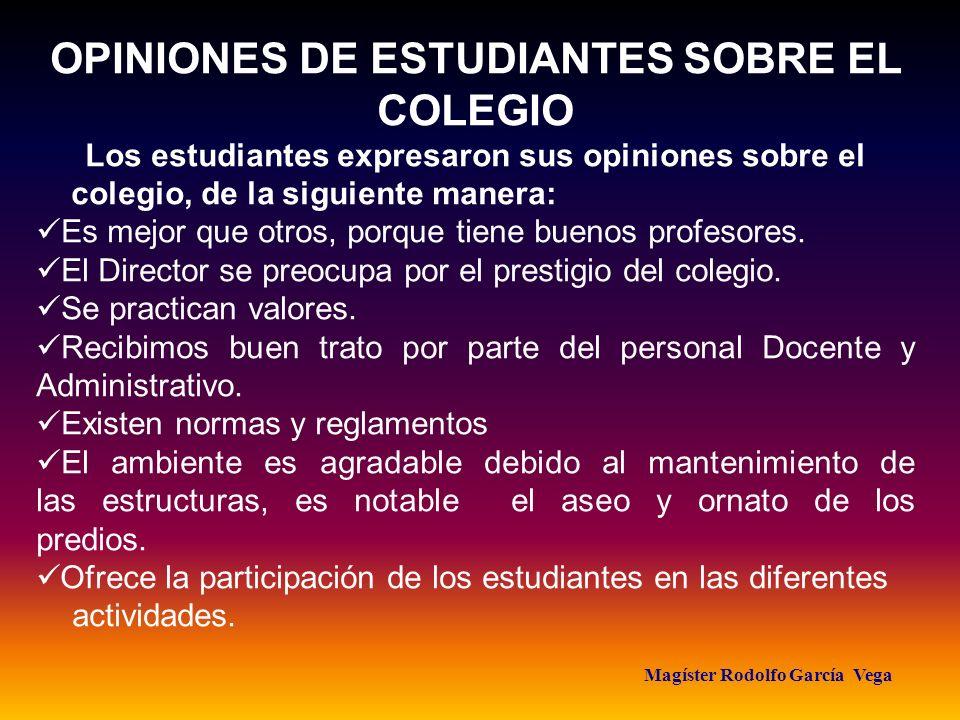 OPINIONES DE ESTUDIANTES SOBRE EL COLEGIO Magíster Rodolfo García Vega