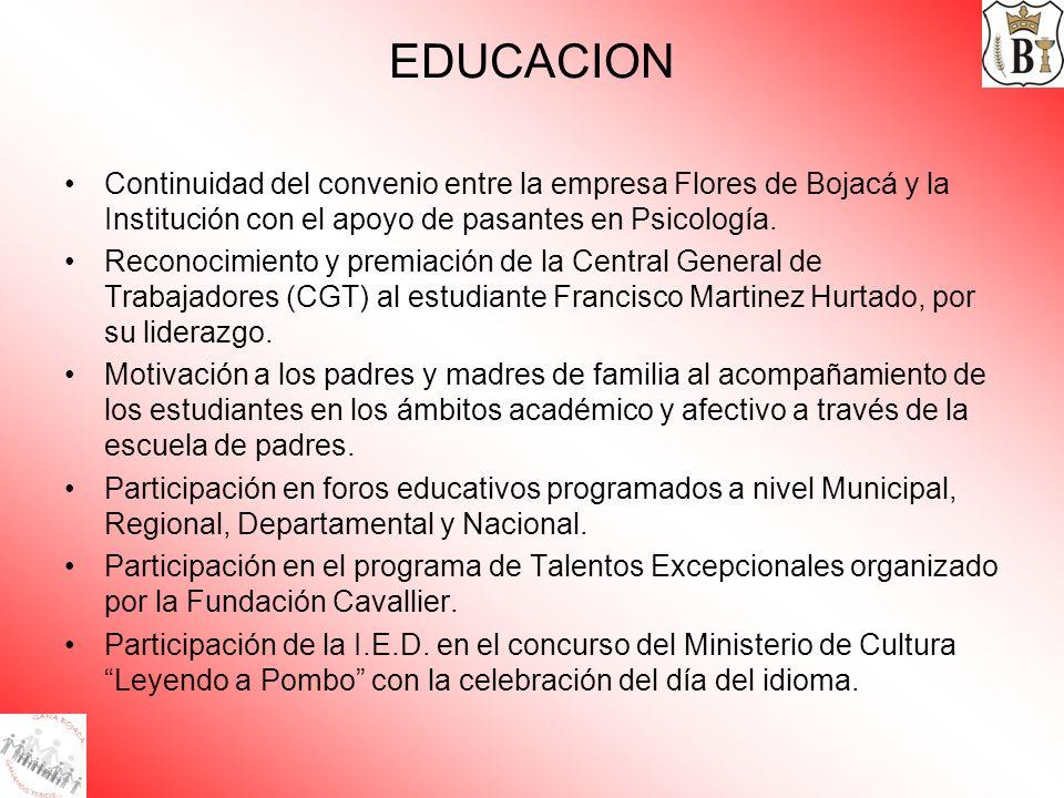 EDUCACION Continuidad del convenio entre la empresa Flores de Bojacá y la Institución con el apoyo de pasantes en Psicología.