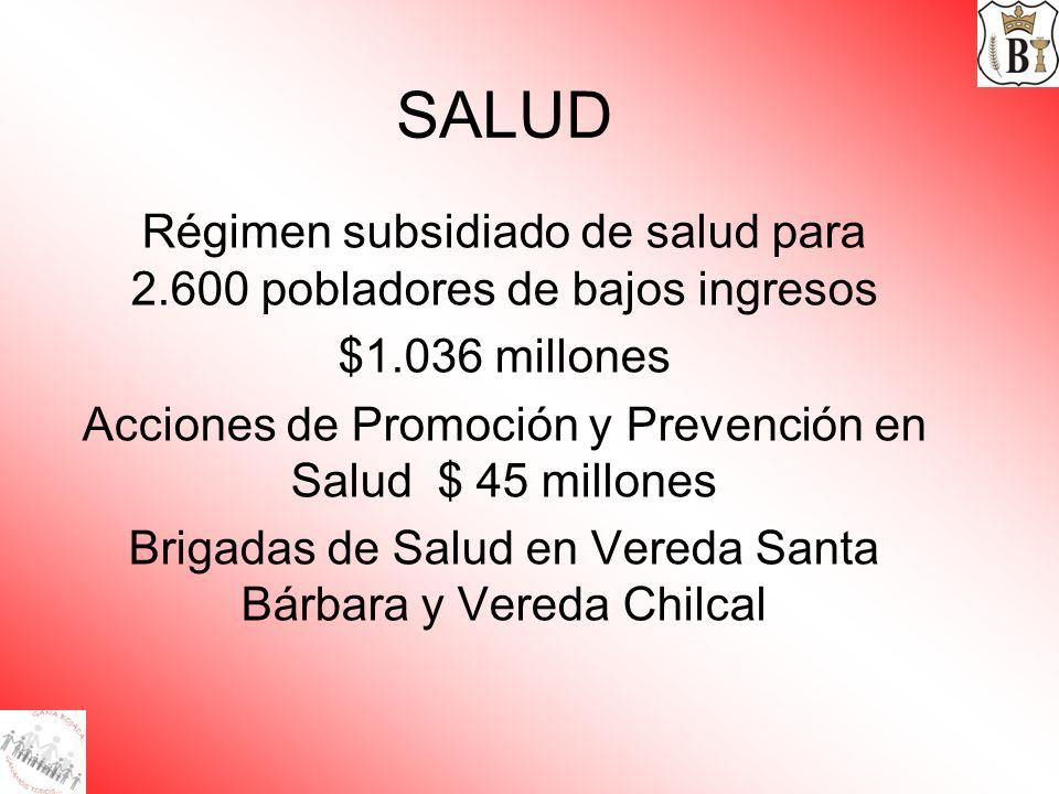 SALUD Régimen subsidiado de salud para 2.600 pobladores de bajos ingresos. $1.036 millones.