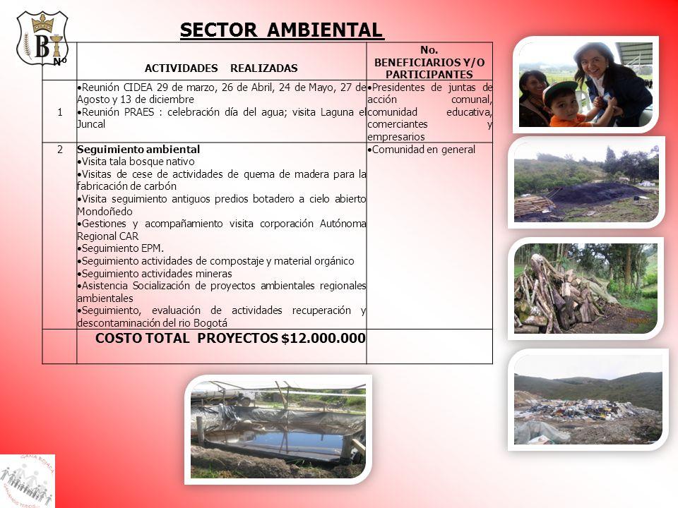 ACTIVIDADES REALIZADAS No. BENEFICIARIOS Y/O PARTICIPANTES