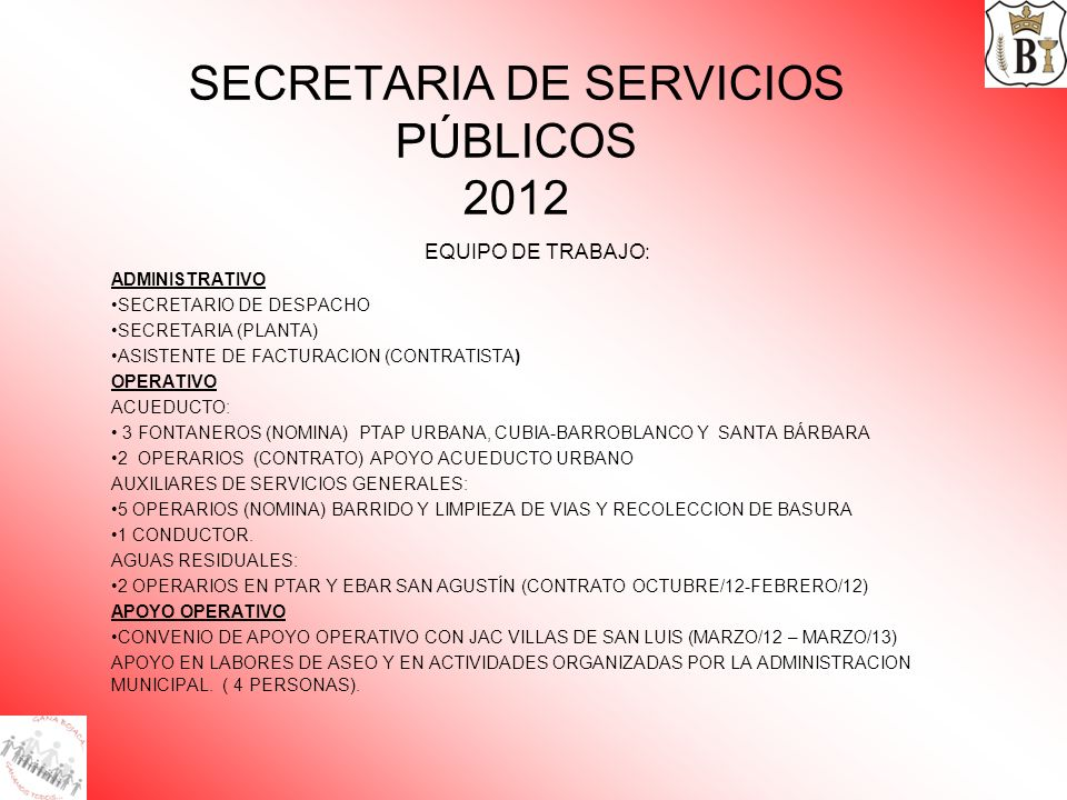 SECRETARIA DE SERVICIOS PÚBLICOS 2012