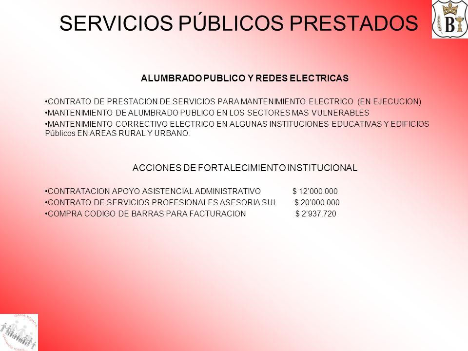 SERVICIOS PÚBLICOS PRESTADOS