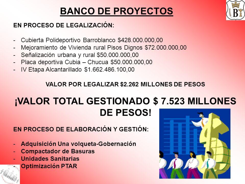 BANCO DE PROYECTOS ¡VALOR TOTAL GESTIONADO $ 7.523 MILLONES DE PESOS!