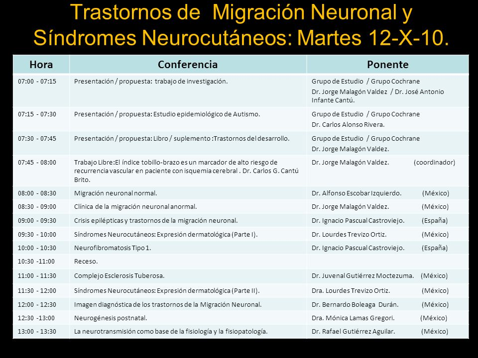 Trastornos de Migración Neuronal y Síndromes Neurocutáneos: Martes 12-X-10.