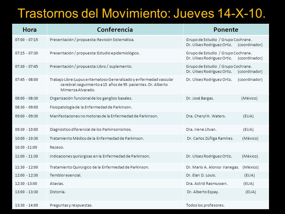 Trastornos del Movimiento: Jueves 14-X-10.