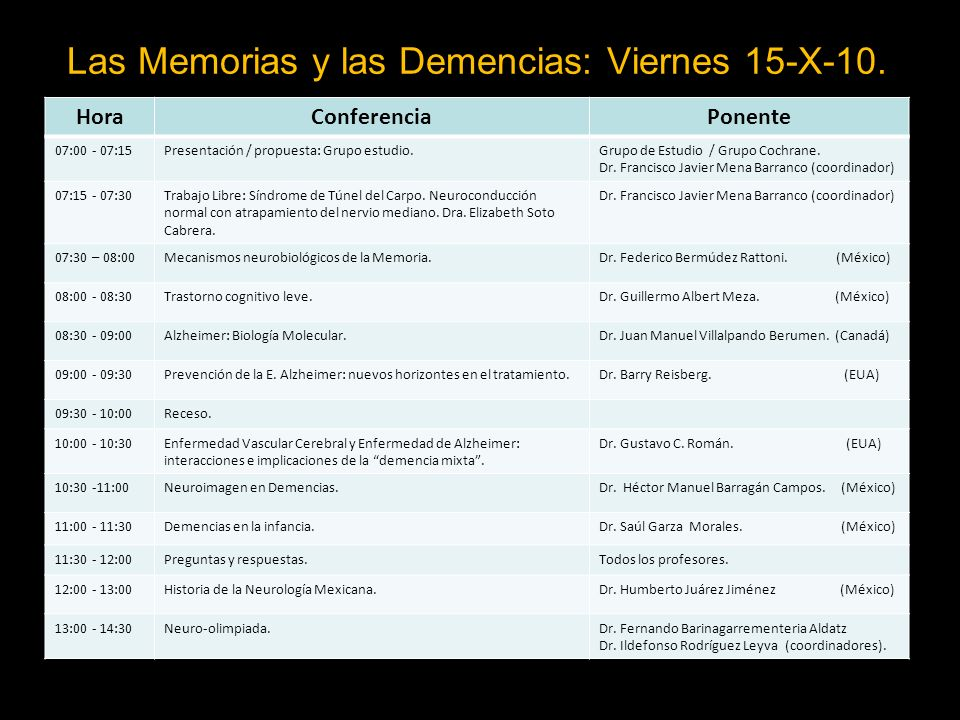 Las Memorias y las Demencias: Viernes 15-X-10.